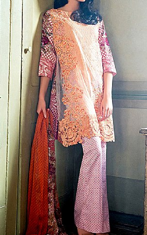 Peach Lawn Suit. | Pakistani Lawn Suits in USA