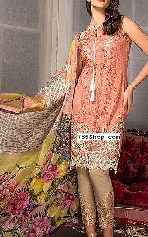 801b7548f7 Peach Lawn Suit | Buy Pakistani Indian Dresses | 786Shop.com