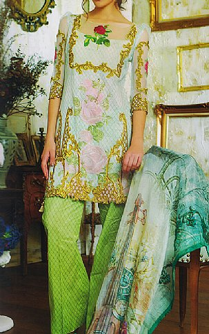 Light Green Lawn Suit | Pakistani Lawn Suits in USA