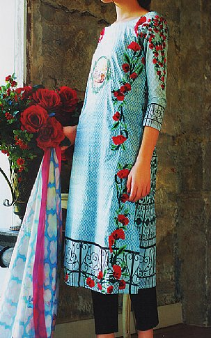 Turquoise Lawn Suit | Pakistani Lawn Suits