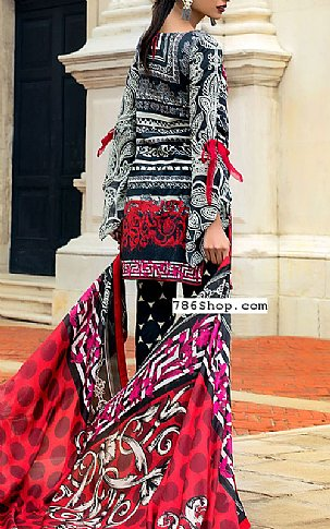 Black/Red Lawn Suit | Pakistani Lawn Suits in USA