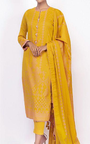 Mustard Jacquard Suit | Pakistani Chiffon Dresses
