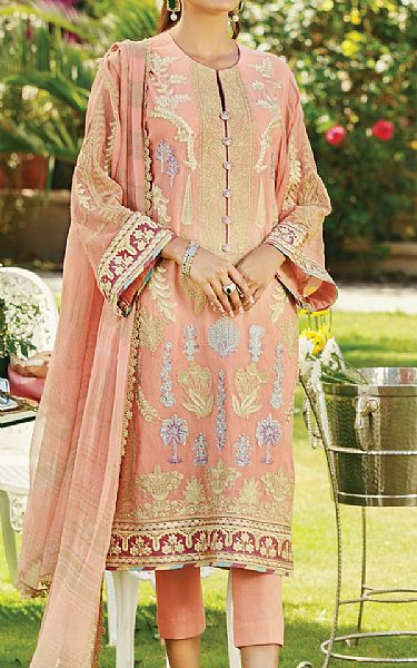 Peach Cotton Net Suit | Pakistani Chiffon Dresses