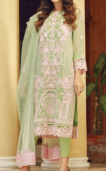 Light Green Cotton Net Suit | Pakistani Chiffon Dresses