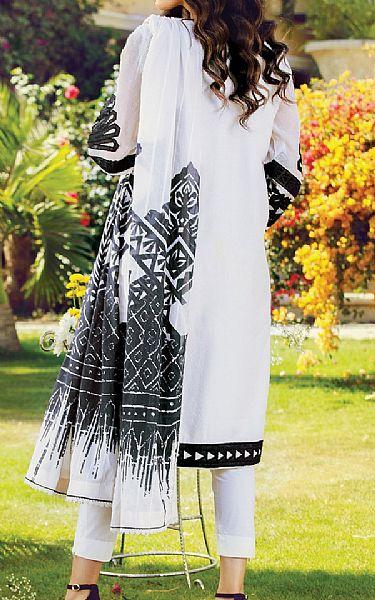 Black/White Cotton Net Suit   Pakistani Chiffon Dresses