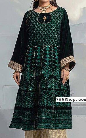 Bottle Green Velvet Kurti   Pakistani Winter Clothes in USA