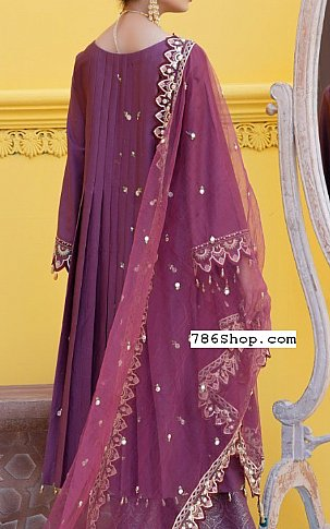 Purple Cotton Satin Suit | Pakistani Chiffon Dresses in USA