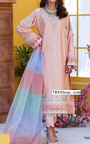 Peach Cotton Satin Suit | Pakistani Chiffon Dresses in USA