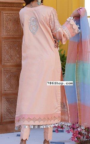 Peach Cotton Satin Suit   Pakistani Chiffon Dresses