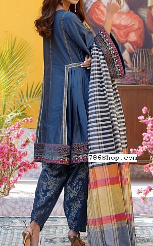 Blue Cotton Satin Suit | Pakistani Chiffon Dresses in USA
