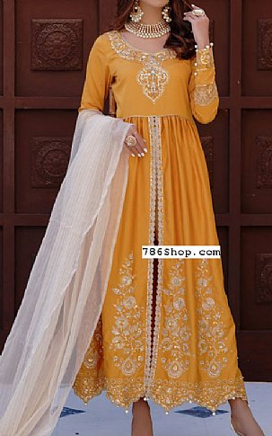 Mustard Cotton Satin Suit | Pakistani Chiffon Dresses