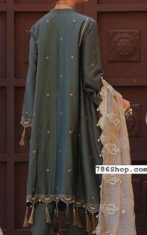 Olive/Grey Cotton Satin Suit | Pakistani Chiffon Dresses