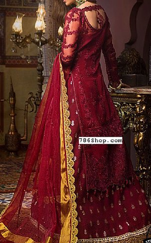 Maroon Organza Suit | Pakistani Chiffon Dresses in USA