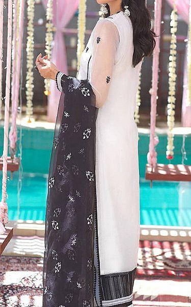 Off-white/Black Organza Suit | Pakistani Chiffon Dresses