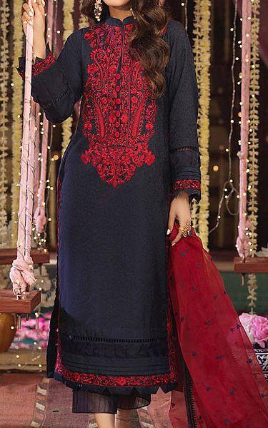 Navy Cotton Jacquard Suit | Pakistani Chiffon Dresses