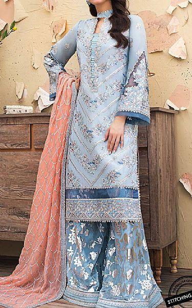 Baby Blue Raw Silk Suit   Pakistani Chiffon Dresses