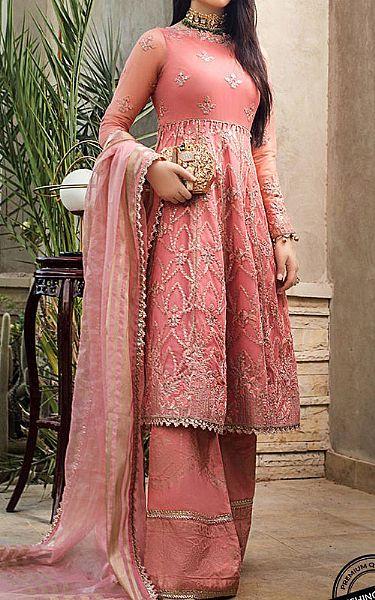 Tea Rose Net Suit | Pakistani Chiffon Dresses