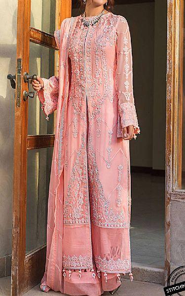 Peach Crinkle Chiffon Suit   Pakistani Chiffon Dresses