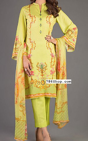 Parrot Green Karandi Suit | Pakistani Winter Clothes in USA
