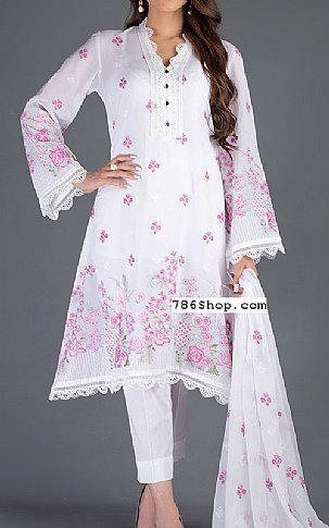 White/Pink Lawn Suit | Pakistani Lawn Suits in USA