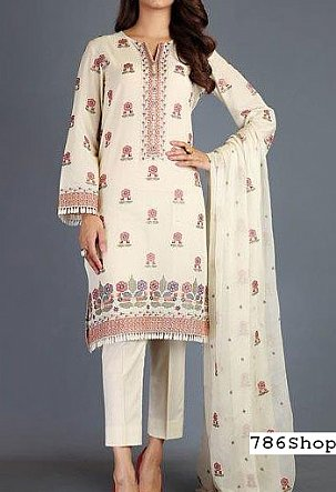 Cream Swiss Lawn Suit (2 Pcs) | Pakistani Lawn Suits in USA