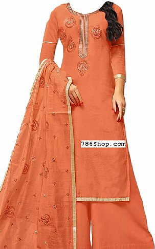 Coral Silk Suit | Pakistani Dresses in USA