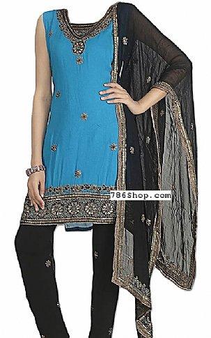 Turquoise/Black Georgette Suit | Pakistani Dresses in USA