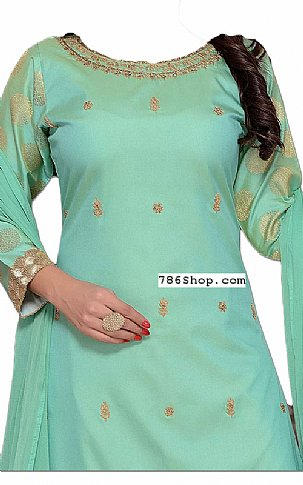 Light Sea Green Silk Suit | Pakistani Dresses in USA