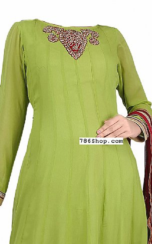 Parrot Green Chiffon Suit | Pakistani Dresses in USA