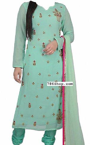 Light Turquoise Chiffon Suit | Pakistani Dresses in USA