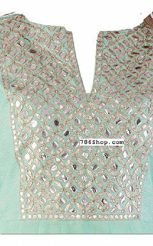 Light Turquoise Chiffon Suit   Pakistani Dresses in USA