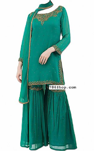 Teal Chiffon Suit | Pakistani Dresses in USA