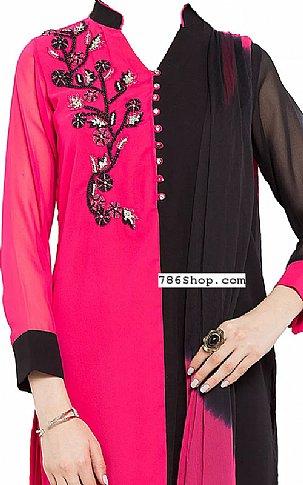 Pink/Black Chiffon Suit | Pakistani Dresses in USA