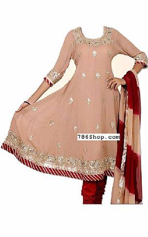 Beige/Maroon Chiffon Suit   Pakistani Dresses in USA