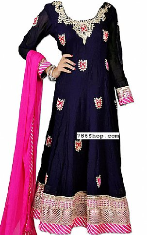 Navy Blue Silk Suit | Pakistani Dresses in USA