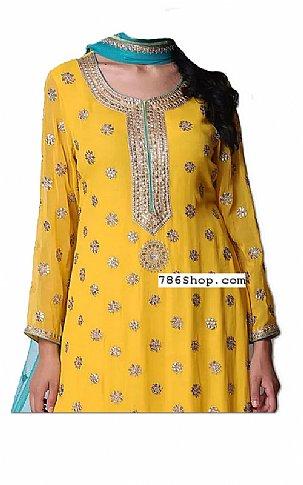 Yellow Chiffon Suit   Pakistani Dresses in USA