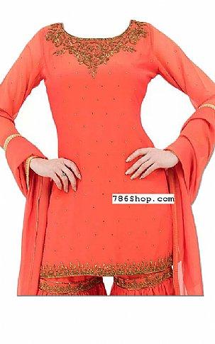 Coral Chiffon Suit | Pakistani Dresses in USA