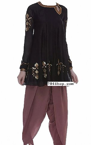 Black/Mauve Chiffon Suit   Pakistani Dresses in USA