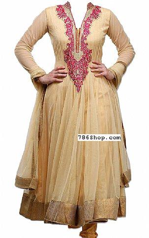 Cream Net Suit   Pakistani Dresses in USA