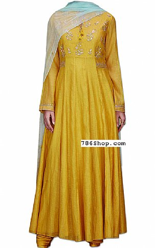 Mustard Silk Suit   Pakistani Dresses in USA