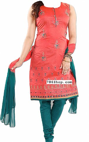 Coral/Teal Georgette Suit | Pakistani Dresses in USA