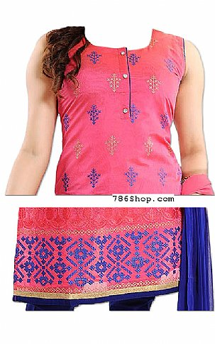 Pink/Blue Georgette Suit   Pakistani Dresses in USA
