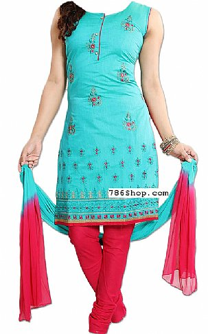 Turquoise/Red Georgette Suit | Pakistani Dresses in USA