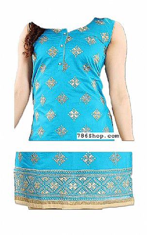Turquoise/Ivory Georgette Suit | Pakistani Dresses in USA