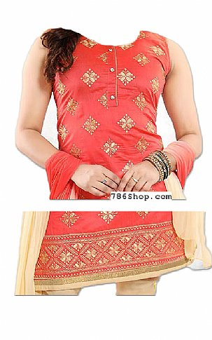 Coral/Cream Georgette Suit | Pakistani Dresses in USA