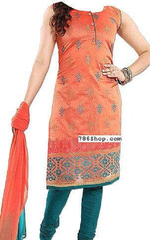 Orange/Teal Georgette Suit | Pakistani Dresses in USA