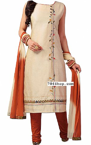 Ivory/Brown Georgette Suit | Pakistani Dresses in USA