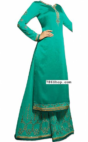 Sea Green Silk Suit | Pakistani Dresses in USA