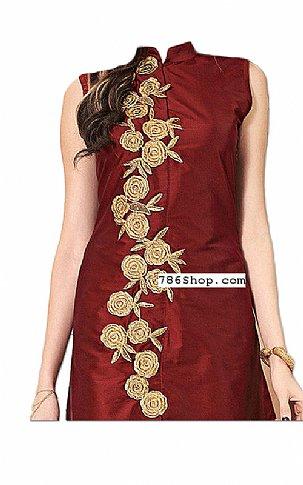 Maroon/Golden Silk Suit | Pakistani Dresses in USA