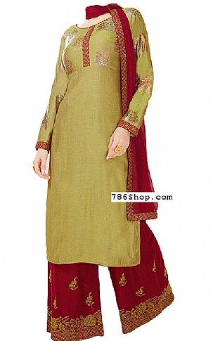 Olive/Maroon Georgette Suit | Pakistani Dresses in USA